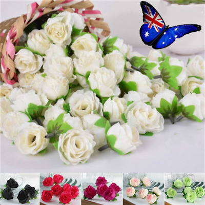 50PCS Silk Rose Artificial Fake Flowers Head DIY Wedding Party Home Decorations