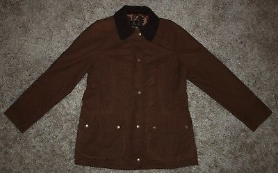 Barbour PRINTED BEADNELL Waxed Jacket in Brown -  UK Size 10 [2853]