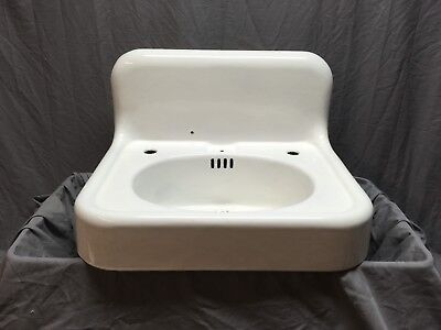 "Antique Hign Back 24"" Cast Iron White Porcelain Wall Mount Bath Sink Vtg 247-18E"
