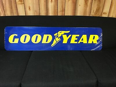 "NEW 1960's 12""X48"" Goodyear Tires An Independent Dealer Double Sided Metal Sign"