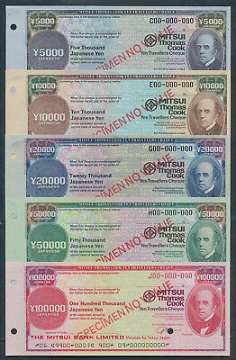 Japan: 1980 Thos Cook & Mitsui Bank. RARE Set of 5 SPECIMEN Travellers' Cheques