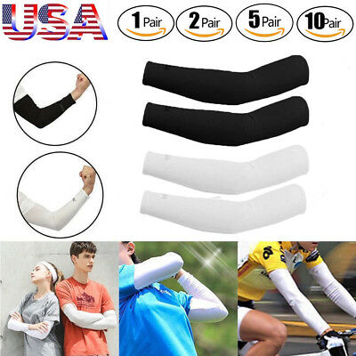 Unisex Cooling Arm Sleeves Cover UV Sun Protection Basketball Golf Sport Cycling