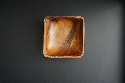 "Vintage 5.5"" Square Wood Bowl for Yarn, Nuts or Storage Wooden Simple craft"