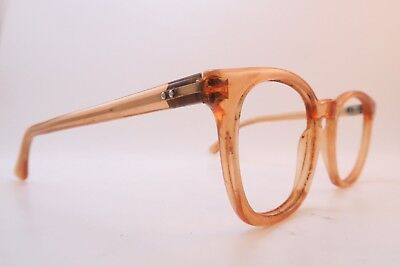 Vintage 50s eyeglasses frames crystal peach acetate w/keyhole bridge mens small