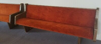 used church pews with burnt orange upholstery in good condition