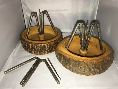 TWO Vintage ELLWOOD RUSTICWARE Wood Tree Bark Large Nut Bowl Nutcracker & Picks