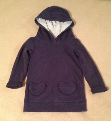 Girls Carters Heart Pocket Hoodie Sweatshirt Blue Sz 4