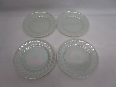 "(4) Vintage ANCHOR HOCKING Fire-King Carnival-Glass-Style 7 1/4"" Dessert Plates"