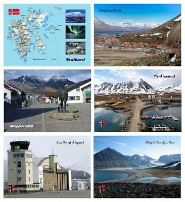 AK Svalbard Islands Map Longyearbyen Airport Ny-Alesund New Postcards
