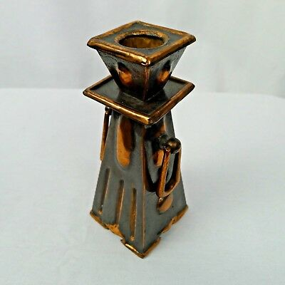 Vintage Arts And Crafts Candlestick Applied Handles Blackened Copper Patina
