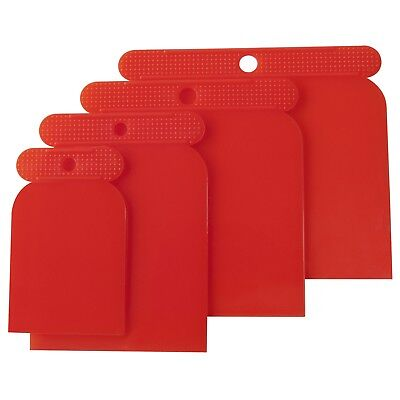 4pc Flexible Plastic Putty Paint Skimmer Scraper Set Spreader Filler Filling