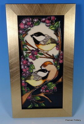 MOORCROFT Blackcap In Beauty Birds Framed Wall Plaque Kerry Goodwin RRP £245