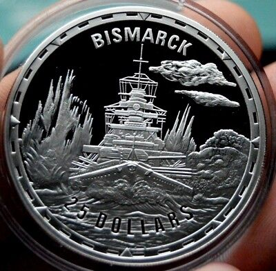 Bismarck $25 Silver Proof Legendary Ship Collection Royal Mint Troy Oz Coin