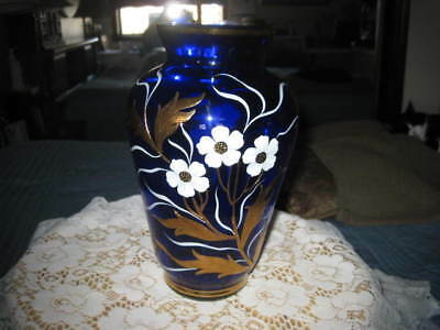"""Cobalt Blue Hand Painted Floral 10"""" Tall Vase- Poppies"""