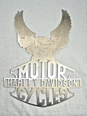Harley Davidson Motor Cycles Laser Cut Aluminum Sign with Eagle