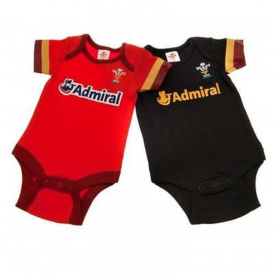 Wales Rugby Union 2 Pack Bodysuit 12/18 Months GD New Official Licensed Product