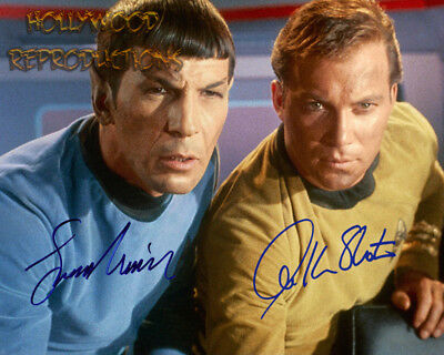 REPRINT - LEONARD NIMOY WILLIAM SHATNER Autographed signed photo 8x10