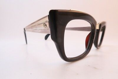 Vintage acetate and metal eyeglasses frames Algha made in England 48-22 men's M