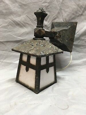 Antique Arts Crafts Cast Iron Porch Sconce Light Fixture Milk Glass 257-18E