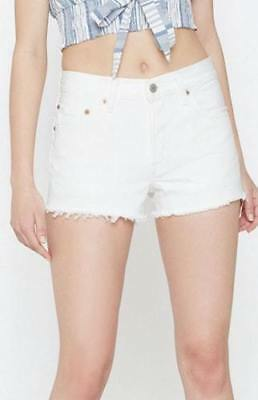 New Levi's Womens 501 White Frayed Denim Shorts Size 31