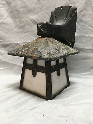 Antique Arts Crafts Cast Iron Tin Porch Sconce Light Fixture Milk Glass 258-18E