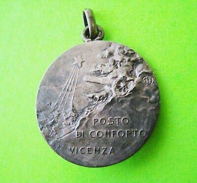 Antique 1918 STERLING SILVER MEMORIAL MEDALLION Funeral? WW I? Vincenza Italy