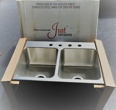 New Just Manufacturing Sinks Kitchen Stainless Dlx-2233-A-Gr-4 Deep 2 Bowl C