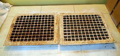 """Vintage Iron Floor / Wall Grates 14"""" X 12"""" Lot Of 2"""