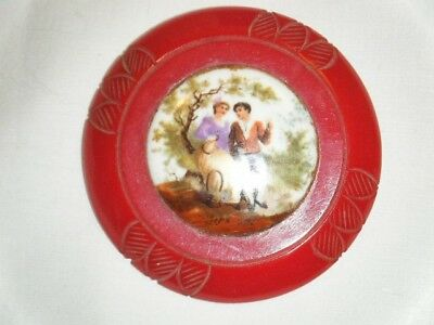 Vintage Red Bakelite Brooch with Hand Painted Porcelain 2 and 1/2 inches wide
