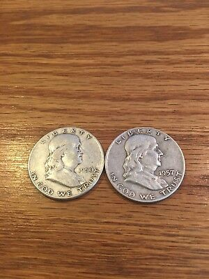 Lot of 2 Franklin silver HALF DOLLARS Very Good Condition.