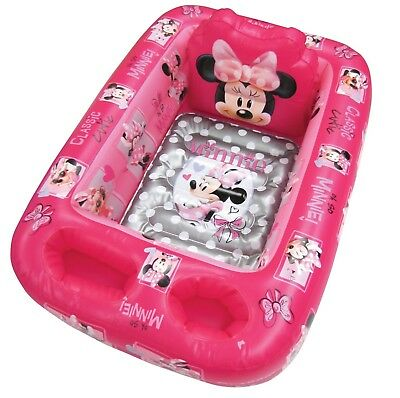 Kids Disney Minnie Mouse Inflatable Safety Bathtub Tub Pink Pool Infant Toddler