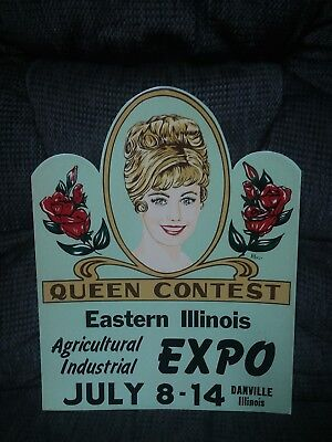 1960's queen contest cardboard easelback sign with lady