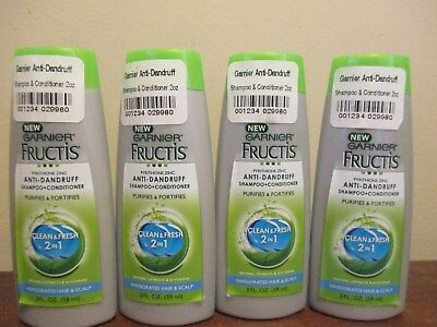 (4) Garnier Fructis Anti Dandruff Clean & Fresh 2 in 1 Shampoo Conditioner 2 oz