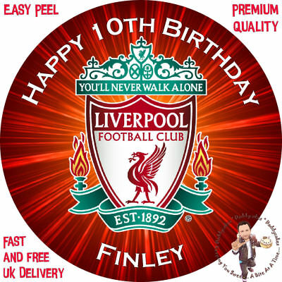 """Liverpool FC 8"""" Round Premium Icing Sheet Customised Cake Topper"""