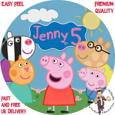 """Peppa Pig and Friends 8"""" Round Premium Icing Sheet Customised Cake Topper"""