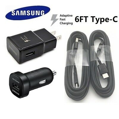 Extra Long 6FT Cable OEM Samsung Galaxy S8 S8 plus Fast Wall Charger Car Adapter