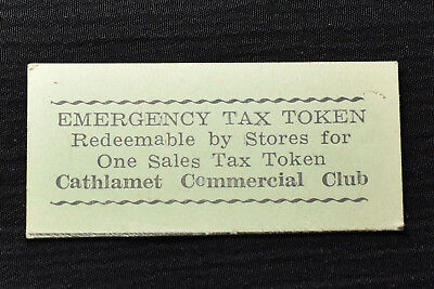Washington, Cathlamet, Green Cardboard Sales Tax Token, M&d Wa-L6, R-6