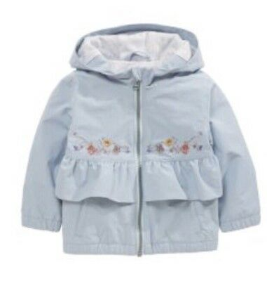 Girls Light Blue Frill Shower Proof Jacket Rain Coat Age 5-6 From next BNWT £24
