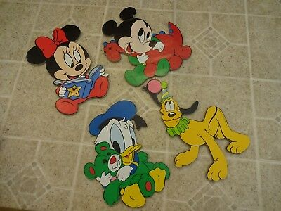 Set Of 4 Vintage Baby Mickey Mouse & Friends Pressed Board Nursery Wall Decor