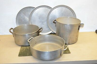 Lot of Three Metal Pots and Three Flat Pans, PSU