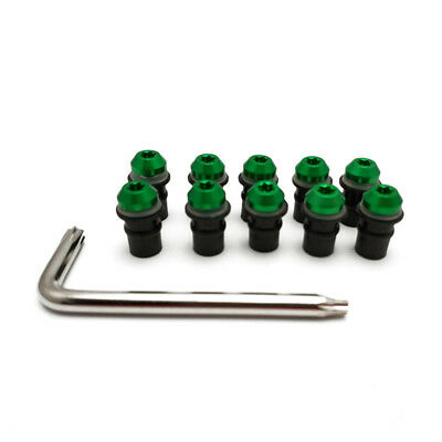 10x M5 Motorbike Green Windscreen Windshield Fairing Bolt Screw Fastener Kit