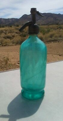 Antique 1870's 1900's French Teal Glass Syphon Soda Seltzer Swirl Bottle
