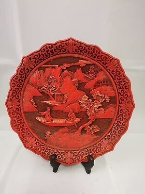 Chinese Antique Red Cinnabar Carved Plate