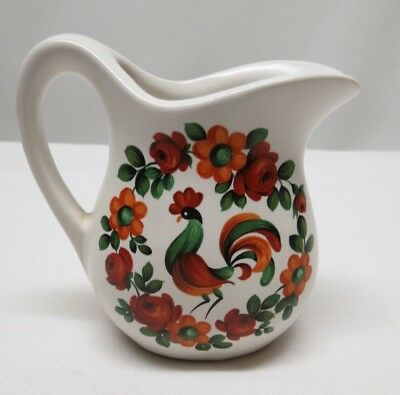 McCoy USA Vintage Rooster/Flower ~ Creamer/Small Pitcher Pottery