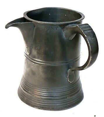 Antique PEWTER 1 Pint SPOUTED TANKARD / Measure w Excise Marks etc Good Colour