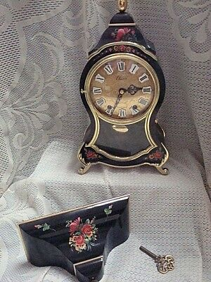 Vintage Eluxa Swiss Hand Painted Black/Gold Clock with Key & Shelf