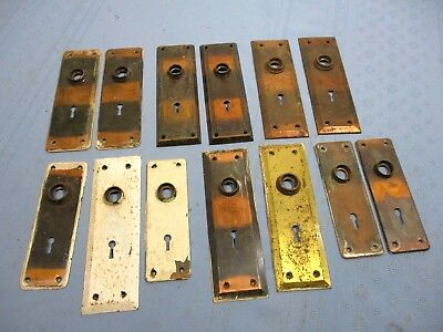 13 Vintage Door Knob Backplates, includes 4 Matching Pairs & 5 Singles