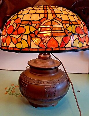 Old Bronze Chinese Censor Conversion w Stained Glass Shade Electrified Oil Lamp