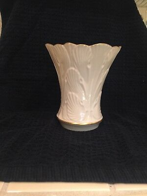 Lenox vase with leaf design and 24 K gold trim
