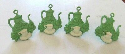 Lot of 4 Vintage curtain tiebacks - Jade green teapot with white cup and saucer